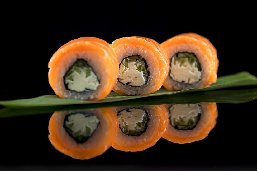 Salmon Sushi Ralls black Background