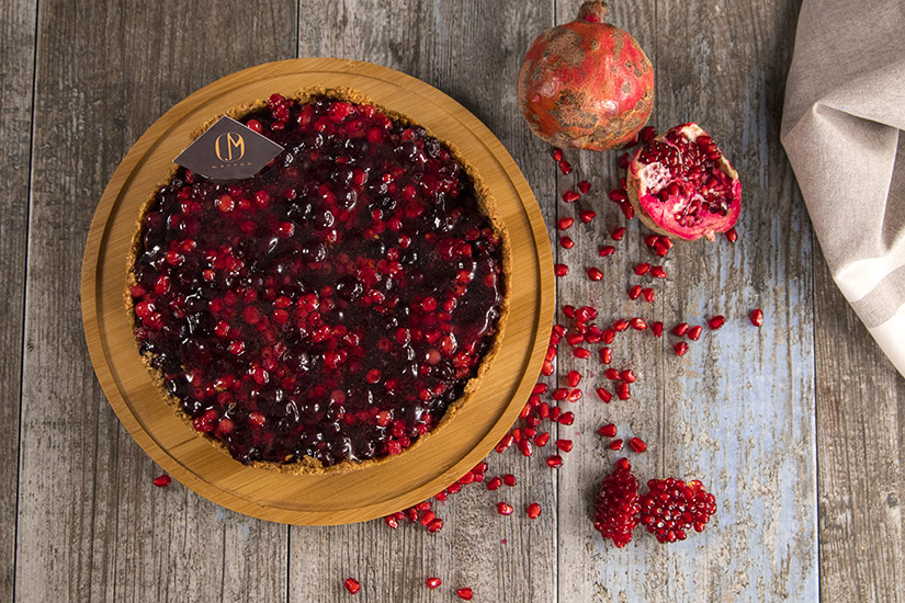 Berries and pomegranate cake