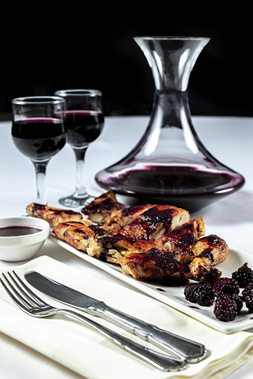 stake with red wine