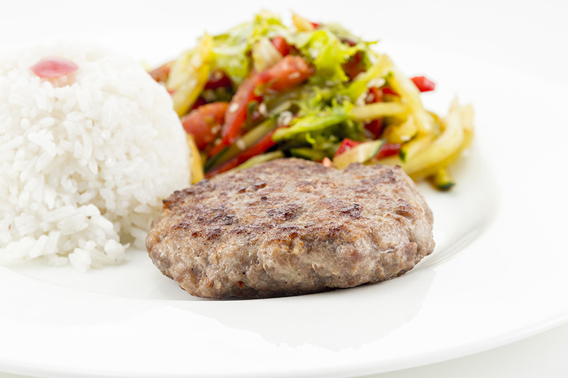 Beef Cutlet with rice and salad