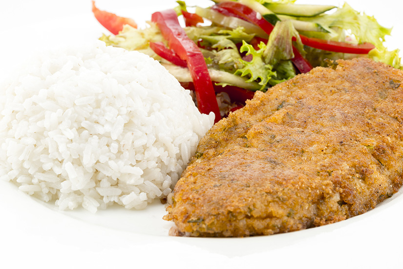 cutlet with rice and salad