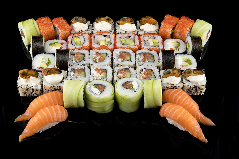 Sushi Design Assort Black  Background