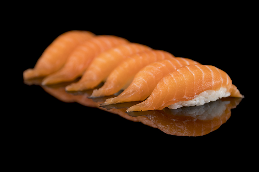 Salmon Sushi Design black Background