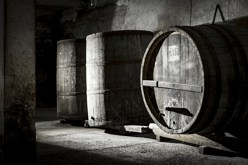 An Old wine Barrels kept for decades